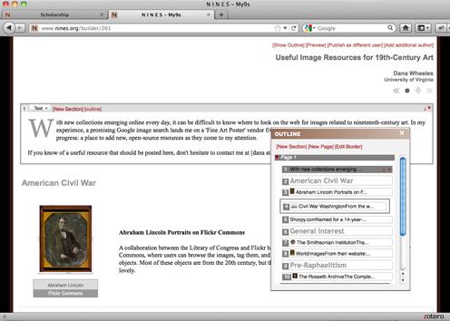 screenshot of NINES authoring tool