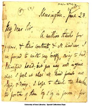 Leigh Hunt letter