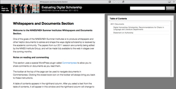 Summer Institute docs on Evaluating Digital Scholarship released